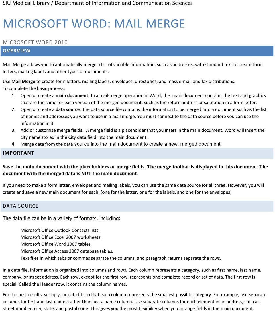 MICROSOFT WORD MAIL MERGE