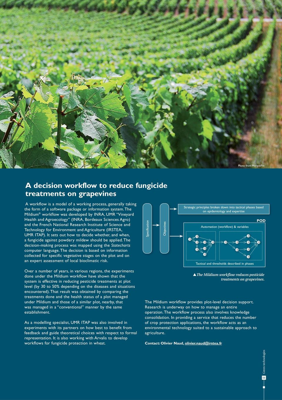 The Mildium workflow was developed by INRA, UMR Vineyard Health and Agroecology (INRA, Bordeaux Sciences Agro) and the French National Research Institute of Science and Technology for Environment and