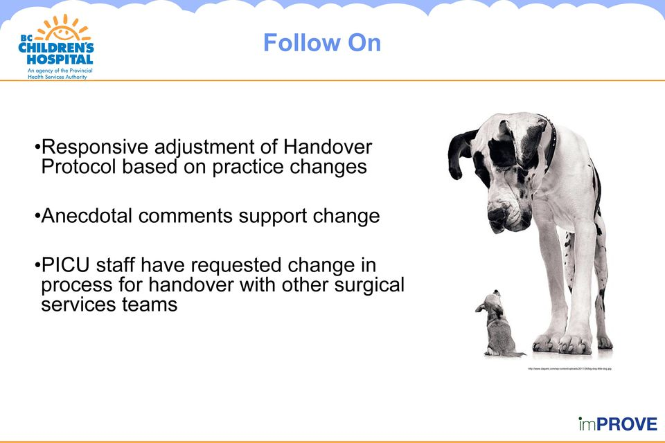 requested change in process for handover with other surgical