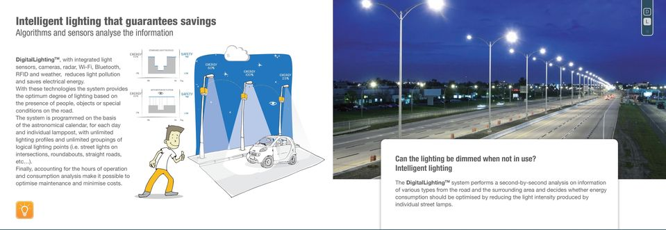 With these technologies the system provides the optimum degree of lighting based on the presence of people, objects or special conditions on the road.