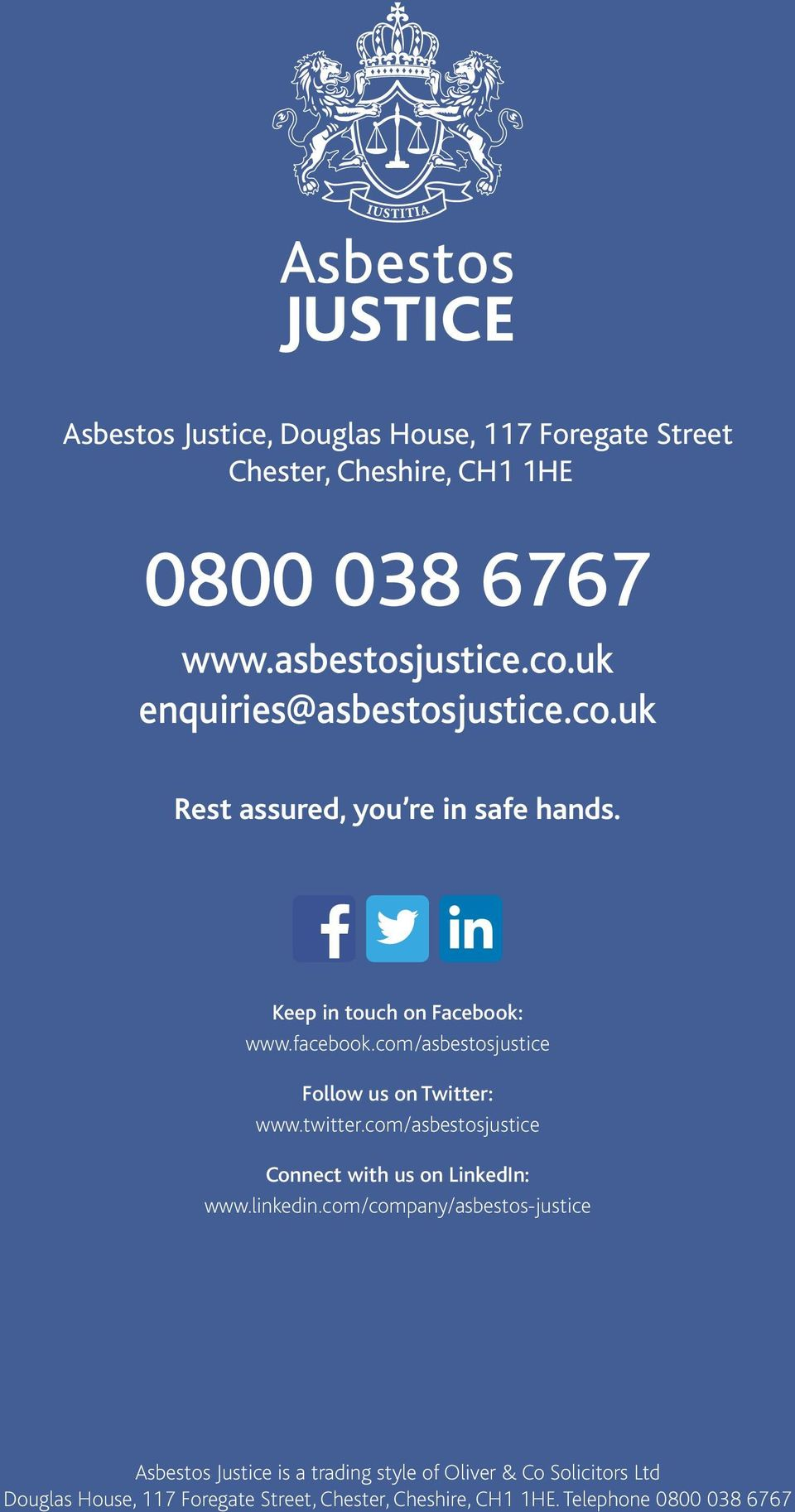com/asbestosjustice Follow us on Twitter: www.twitter.com/asbestosjustice Connect with us on LinkedIn: www.linkedin.