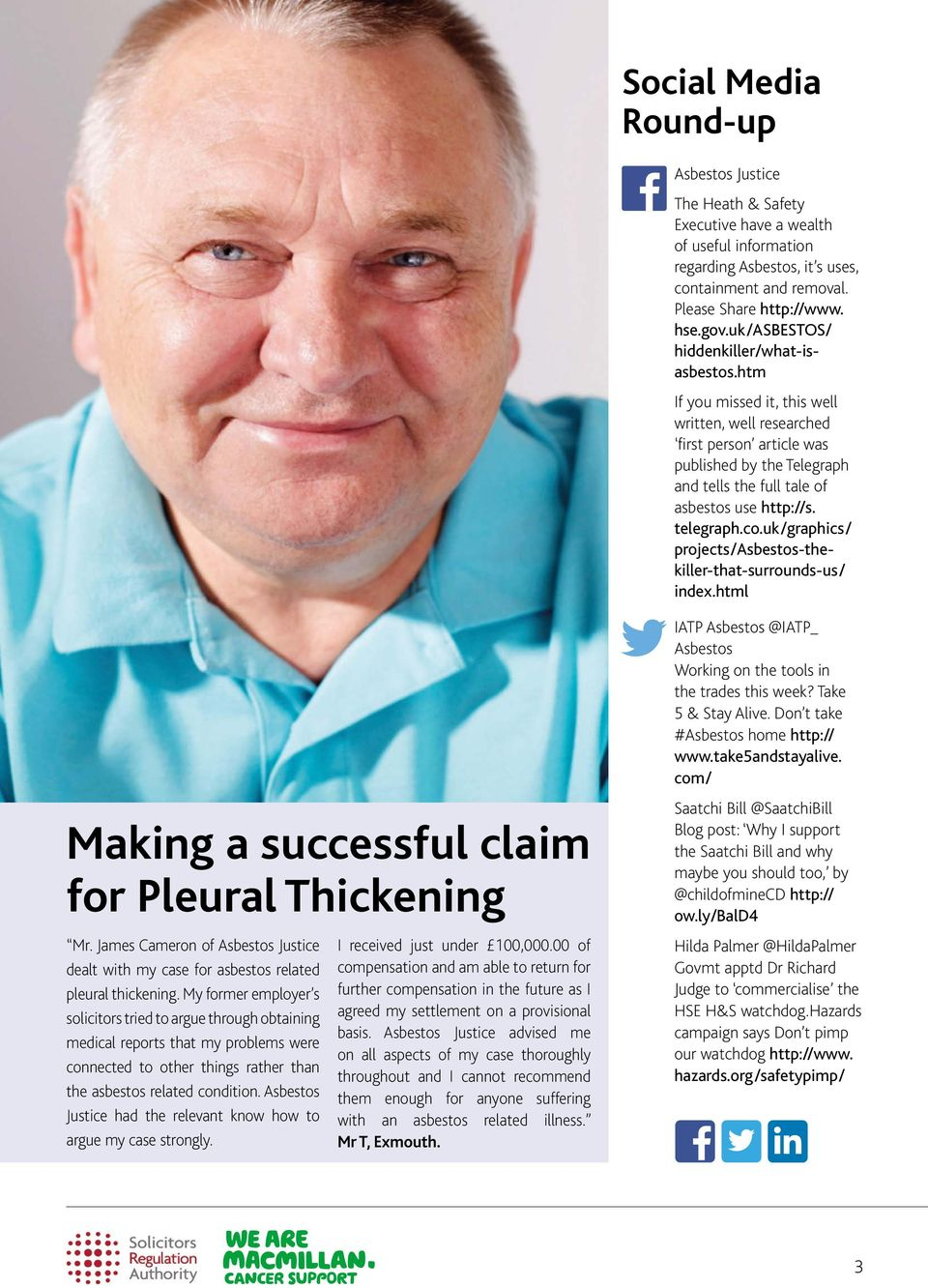 telegraph.co.uk/graphics/ projects/asbestos-thekiller-that-surrounds-us/ index.html Making a successful claim for Pleural Thickening Mr.