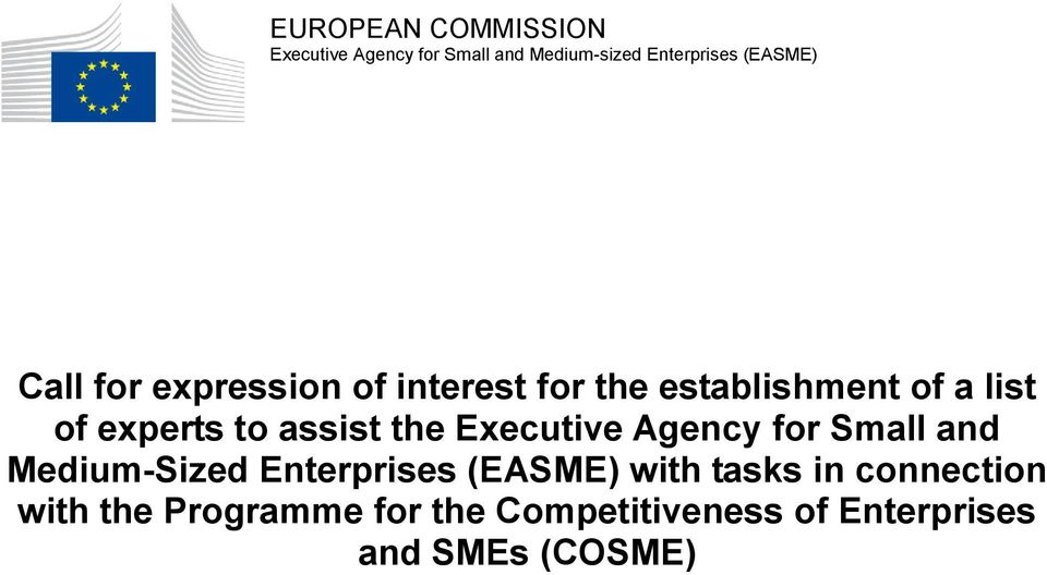 assist the Executive Agency for Small and Medium-Sized Enterprises (EASME) with