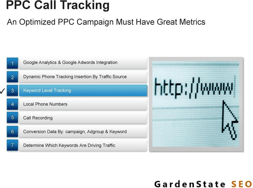 Traffic Source Keyword Level Tracking Local Phone Numbers 5 Call Recording 6
