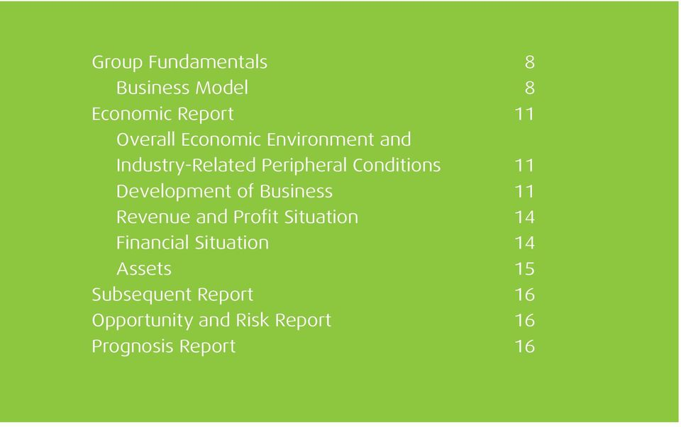 Business 11 Revenue and Profit Situation 14 Financial Situation 14 Assets