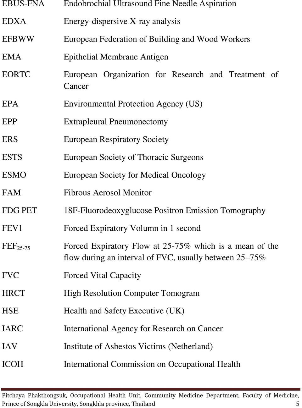 Respiratory Society European Society of Thoracic Surgeons European Society for Medical Oncology Fibrous Aerosol Monitor 18F-Fluorodeoxyglucose Positron Emission Tomography Forced Expiratory Volumn in