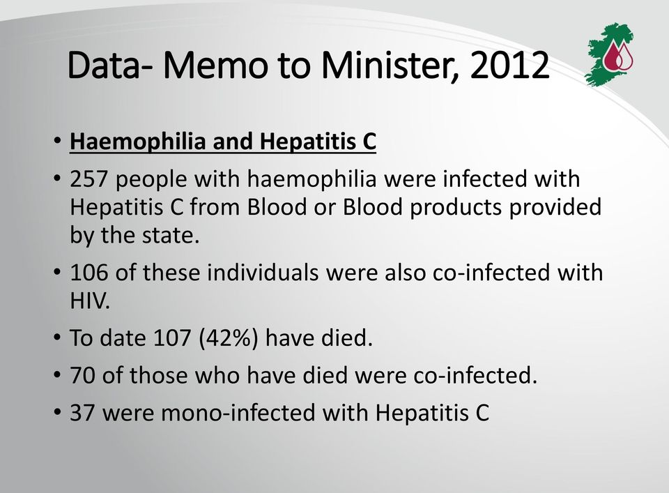 the state. 106 of these individuals were also co-infected with HIV.
