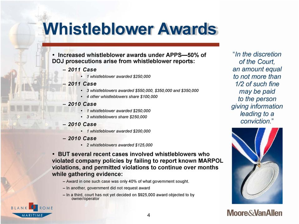 $200,000 2 whistleblowers awarded $125,000 In the discretion of the Court, an amount equal to not more than 1/2 of such fine may be paid to the person giving information leading to a conviction.