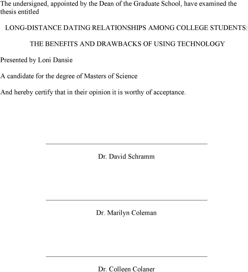 Long distance dating relationships among college students