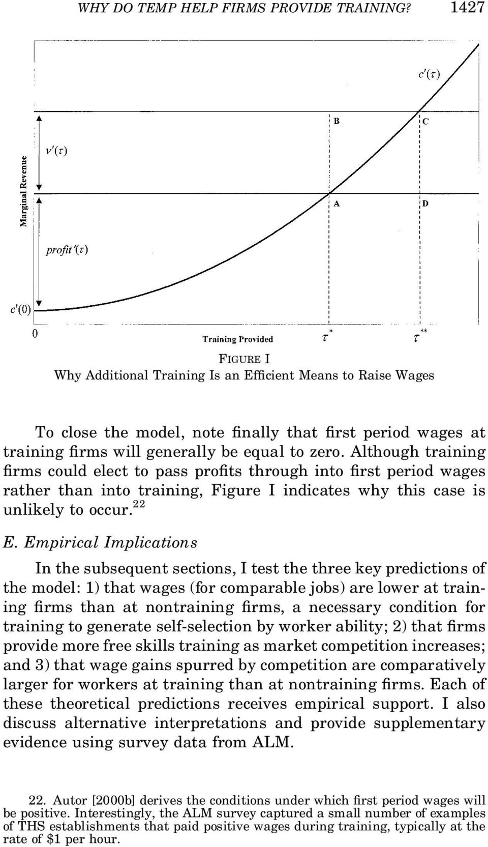 Although training rms could elect to pass pro ts through into rst period wages rather than into training, Figure I indicates why this case is unlikely to occur. 22 E.