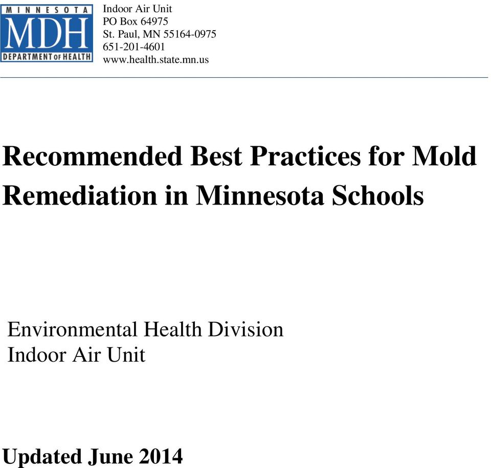 us Recommended Best Practices for Mold Remediation