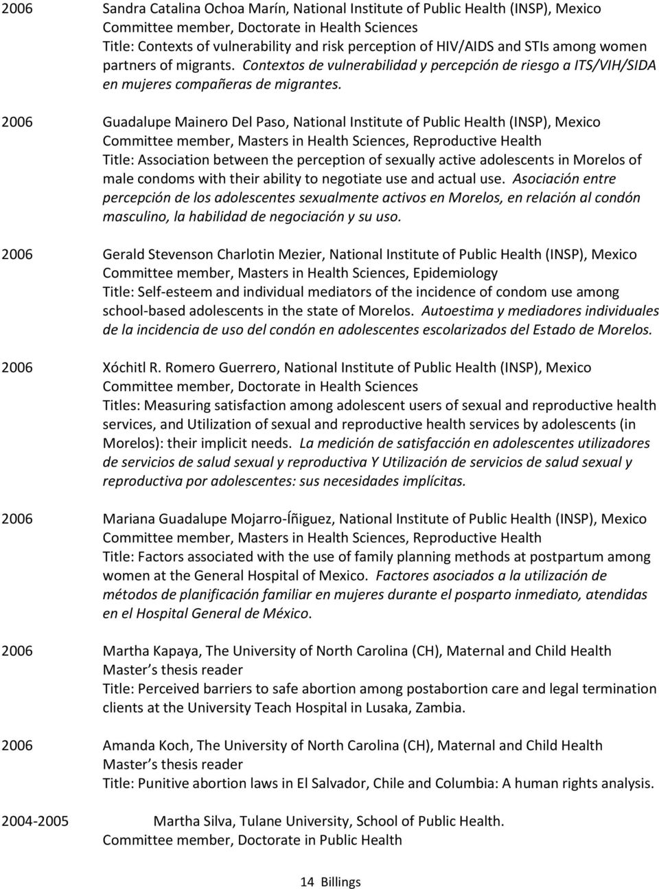 2006 Guadalupe Mainero Del Paso, National Institute of Public Health (INSP), Mexico Committee member, Masters in Health Sciences, Reproductive Health Title: Association between the perception of