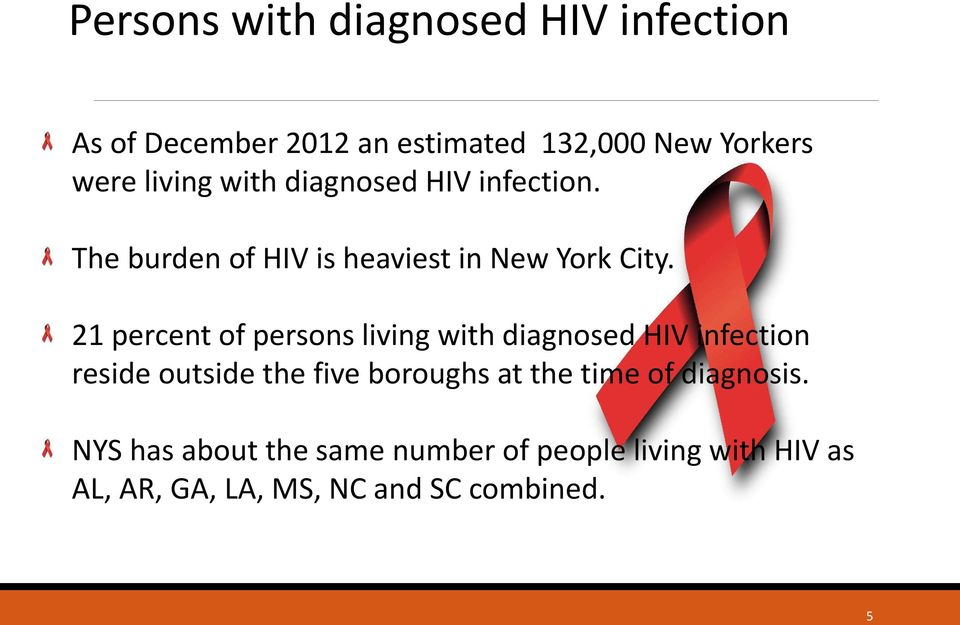 21 percent of persons living with diagnosed HIV infection reside outside the five boroughs at the