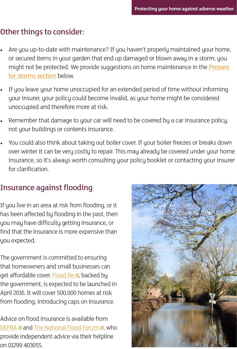 We provide suggestions on home maintenance in the Prepare for storms section below.