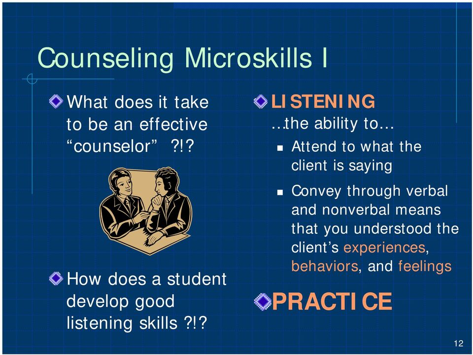 !? LISTENING the ability to Attend to what the client is saying Convey