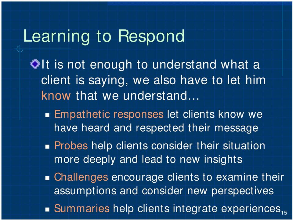 help clients consider their situation more deeply and lead to new insights Challenges encourage clients