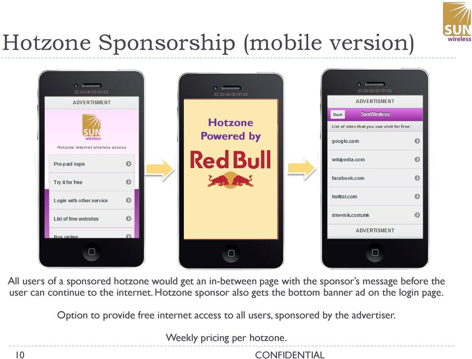 internet. Hotzone sponsor also gets the bottom banner ad on the login page.
