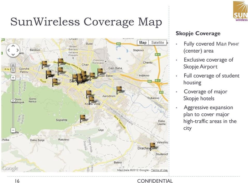 coverage of student housing Coverage of major Skopje hotels