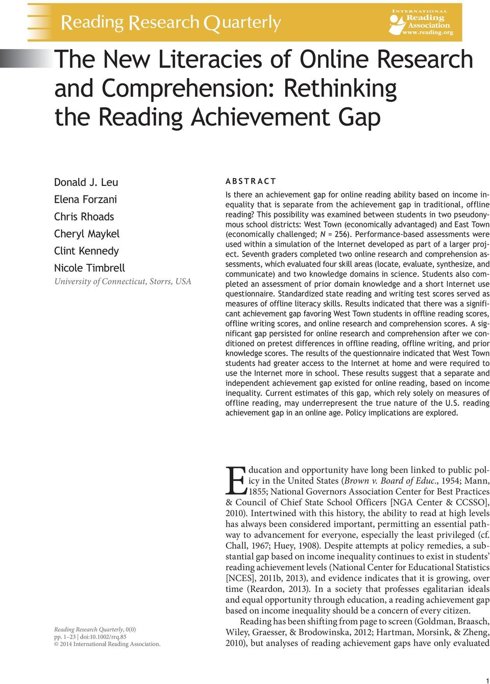 income inequality that is separate from the achievement gap in traditional, offline reading?