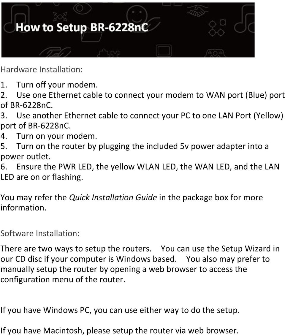 Ensure the PWR LED, the yellow WLAN LED, the WAN LED, and the LAN LED are on or flashing. You may refer the Quick Installation Guide in the package box for more information.