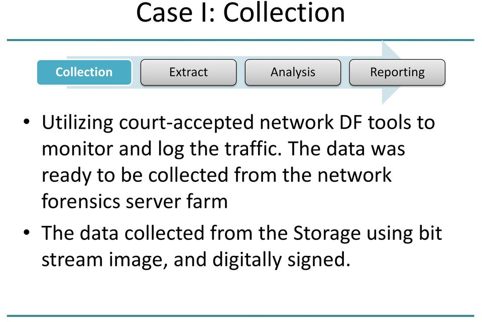 The data was ready to be collected from the network forensics server