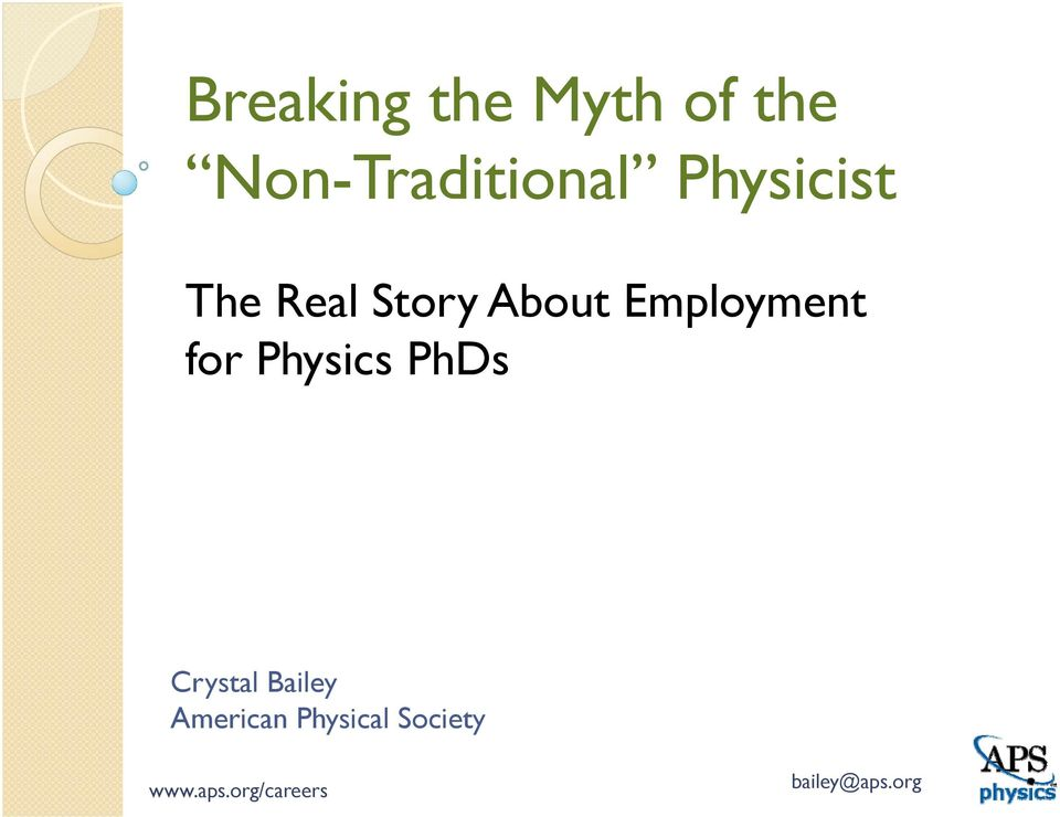 Story About Employment for Physics