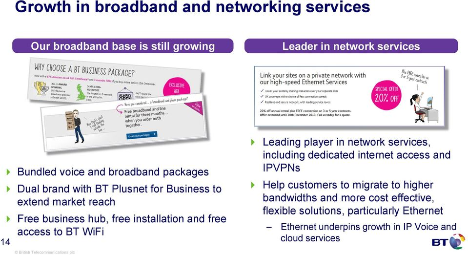 access to BT WiFi 14 Leading player in network services, including dedicated internet access and IPVPNs Help customers to migrate