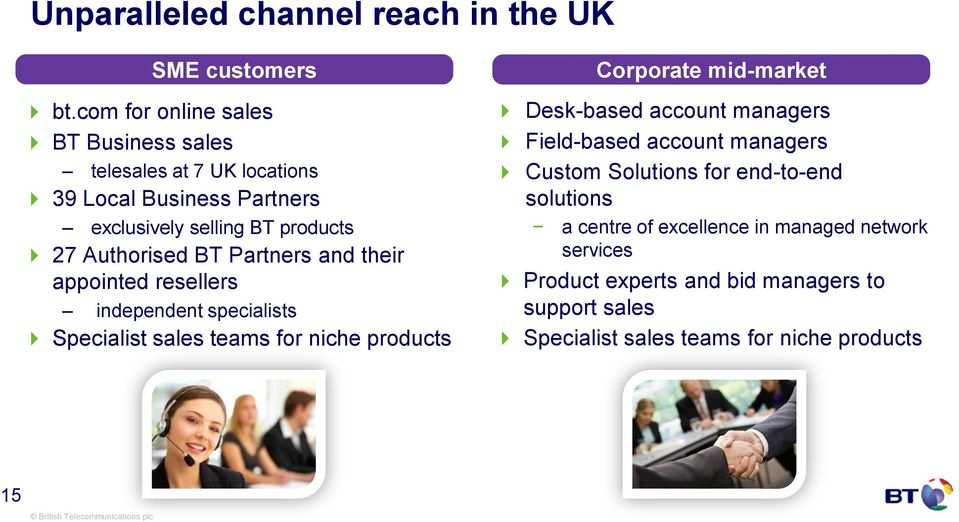BT Partners and their appointed resellers independent specialists Specialist sales teams for niche products Corporate mid-market Desk-based