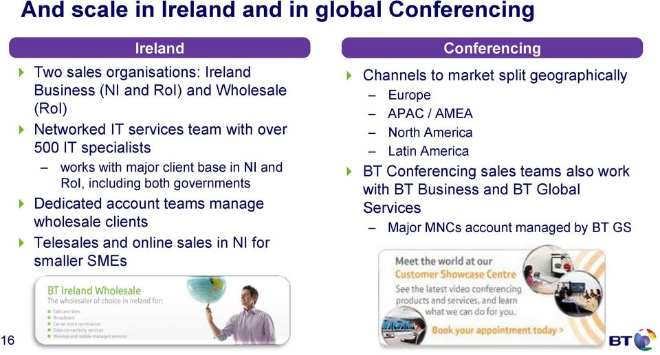 manage wholesale clients Telesales and online sales in NI for smaller SMEs Conferencing Channels to market split geographically Europe APAC /