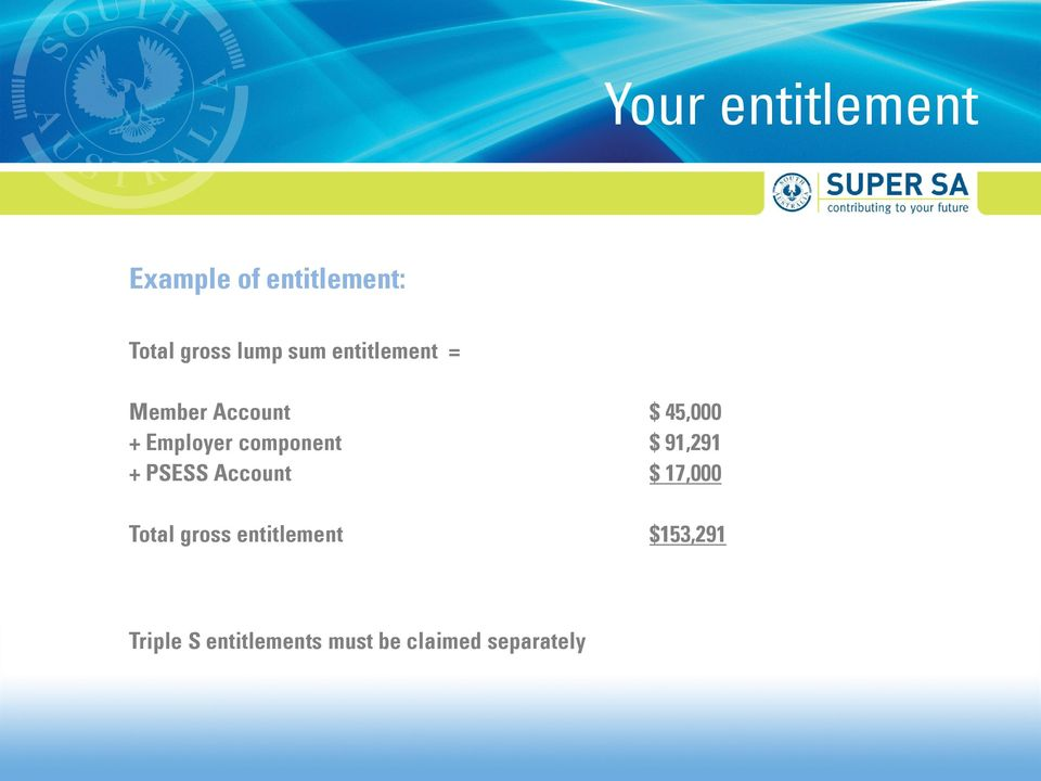component $ 91,291 + PSESS Account $ 17,000 Total gross