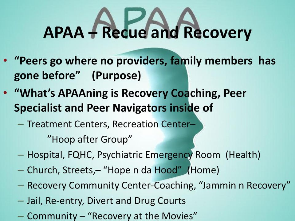 after Group Hospital, FQHC, Psychiatric Emergency Room (Health) Church, Streets, Hope n da Hood (Home) Recovery