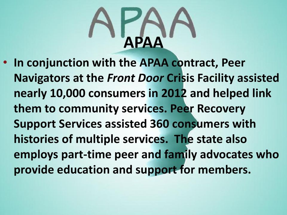 Peer Recovery Support Services assisted 360 consumers with histories of multiple services.