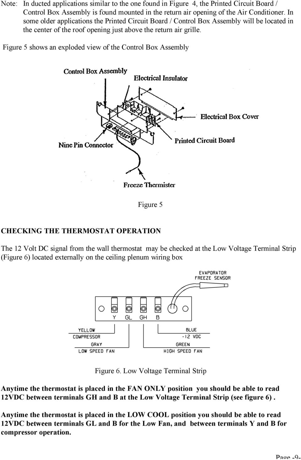 Figure 5 shows an exploded view of the Control Box Assembly Figure 5 CHECKING THE THERMOSTAT OPERATION The 12 Volt DC signal from the wall thermostat may be checked at the Low Voltage Terminal Strip