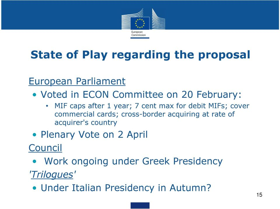 cards; cross-border acquiring at rate of acquirer's country Plenary Vote on 2 April