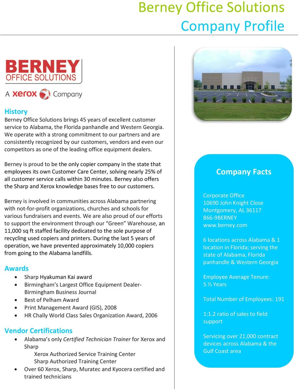 Berney is proud to be the only copier company in the state that employees its own Customer Care Center, solving nearly 25% of all customer service calls within 30 minutes.