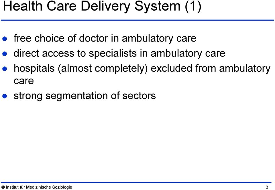 care hospitals (almost completely) excluded from ambulatory