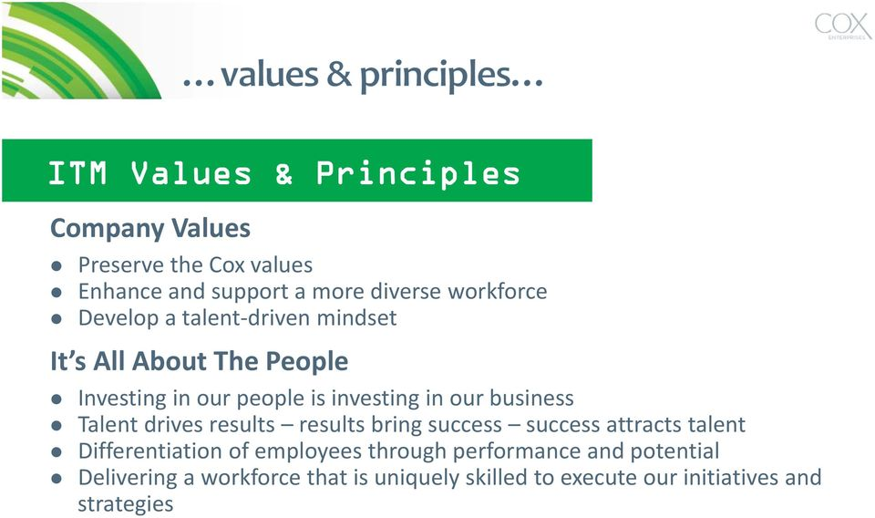 Talent drives results results bring success success attracts talent Differentiation of employees through
