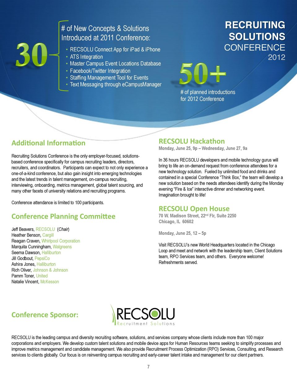 solutionsbased conference specifically for campus recruiting leaders, directors, recruiters, and coordinators.