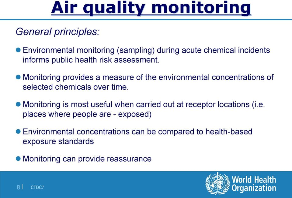 Monitoring provides a measure of the environmental concentrations of selected chemicals over time.