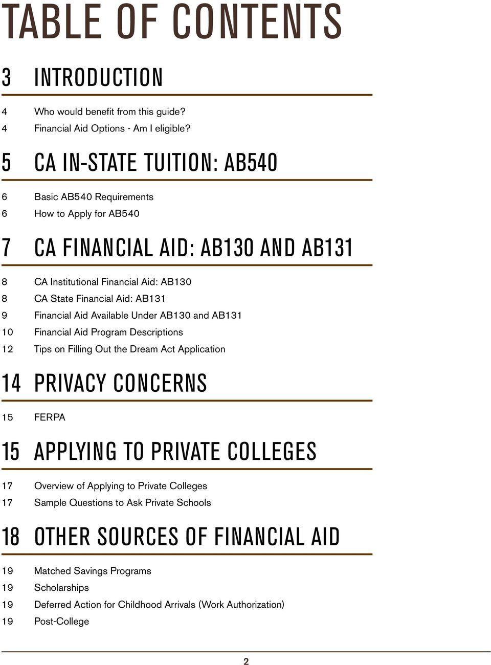 AB131 9 Financial Aid Available Under AB130 and AB131 10 Financial Aid Program Descriptions 12 Tips on Filling Out the Dream Act Application 14 PRIVACY CONCERNS 15 FERPA 15 APPLYING TO