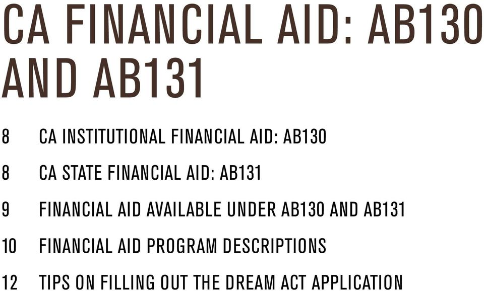 Financial Aid Available Under AB130 and AB131 10 Financial