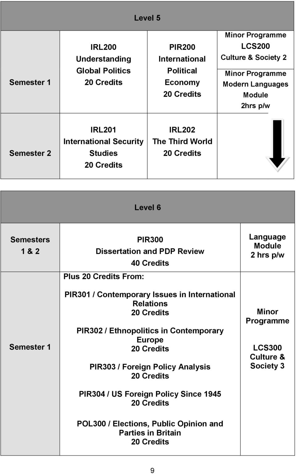 40 Credits PIR301 / Contemporary Issues in Relations PIR302 / Ethnopolitics in Contemporary Europe PIR303 / Foreign Policy Analysis PIR304 / US