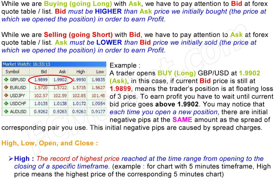 While we are Selling (going Short) with Bid, we have to pay attention to Ask at forex quote table / list.