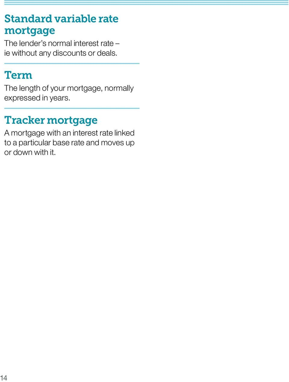 Term The length of your mortgage, normally expressed in years.