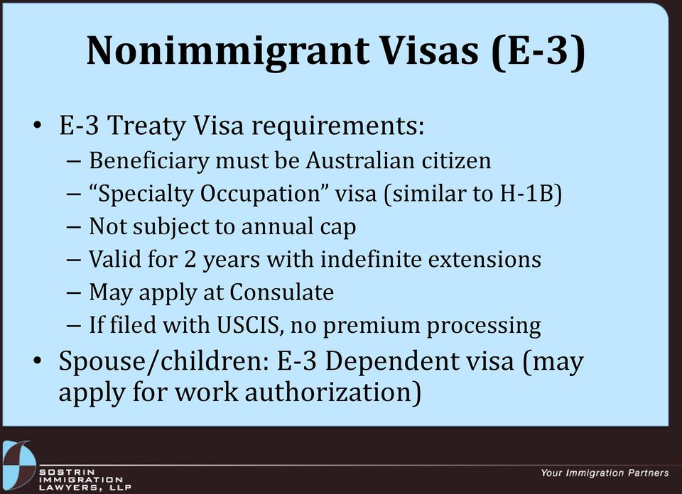 for 2 years with indefinite extensions May apply at Consulate If filed with USCIS, no