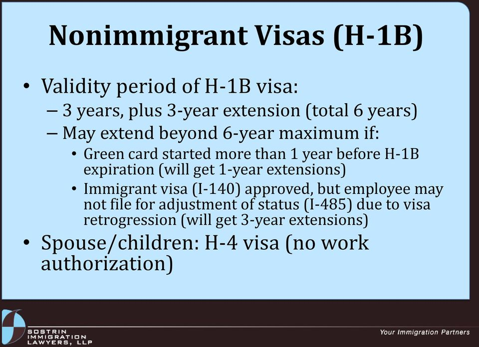 1-year extensions) Immigrant visa (I-140) approved, but employee may not file for adjustment of status