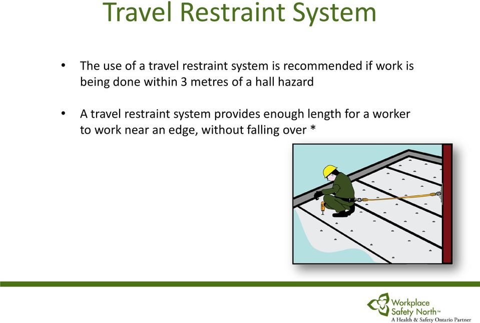 of a hall hazard A travel restraint system provides enough