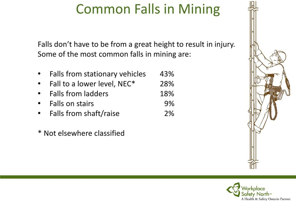 Some of the most common falls in mining are: Falls from stationary