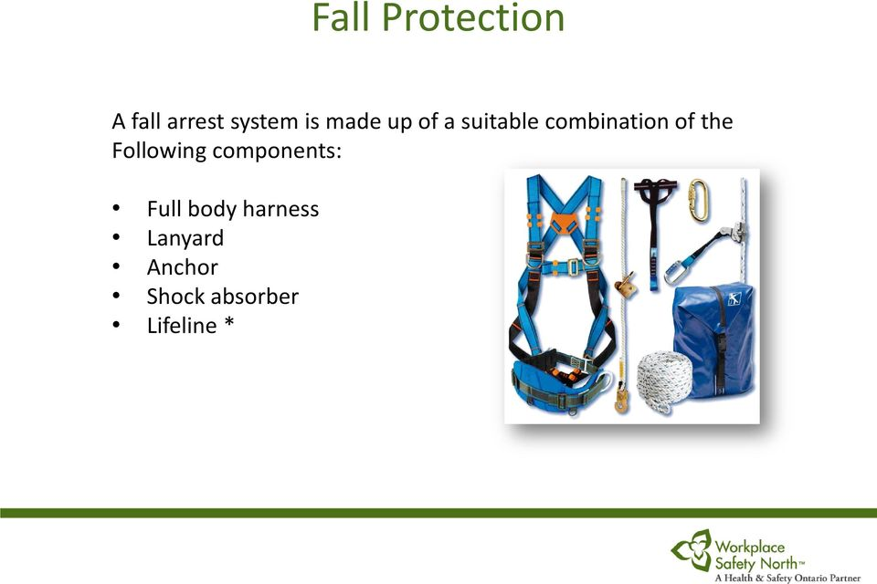 Following components: Full body harness