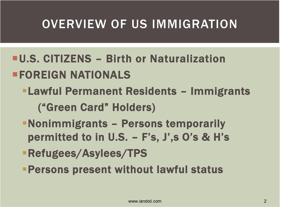 CITIZENS Birth or Naturalization FOREIGN NATIONALS Lawful Permanent